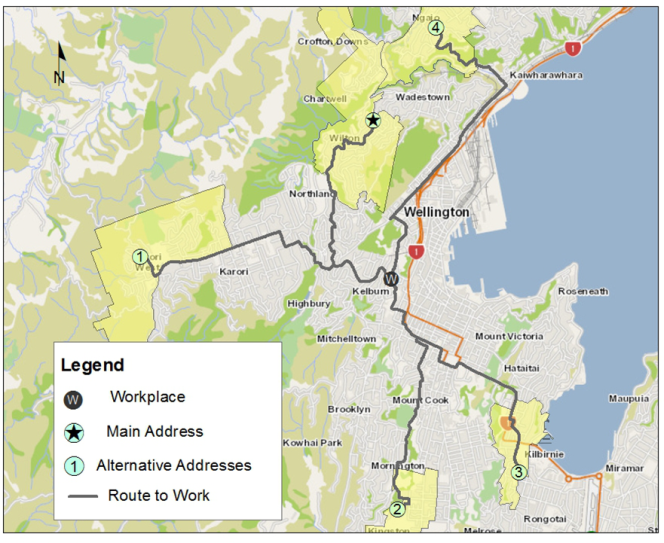 Map of Wellington city and nearby suburbs, indicating one person's addresses, workplace, and route of travel.