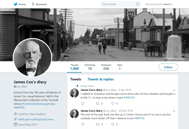 Homepage for the Cox diary on Twitter.