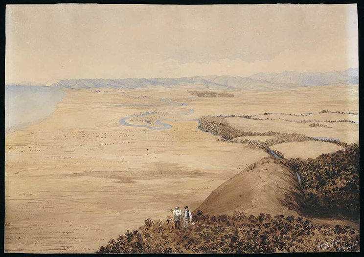 A watercolour painting of the view from hills above Tuamarina, looking south, with dense bush in the foreground, grassy plains along the shore to the left, streams marked by trees. 2 men are viewing the scene