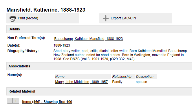 Screenshot of the name record for Katherine Mansfield on Tiaki catalogue of unpublished collections