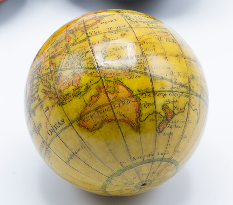 Small globe showing Australasia.