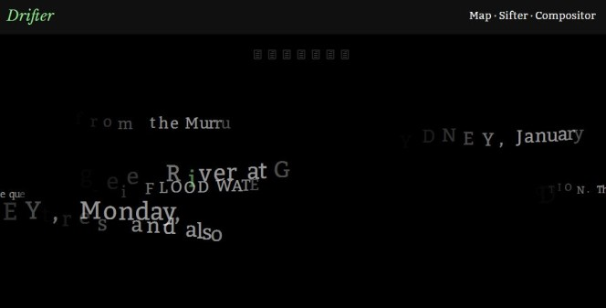 Screenshot of a tool that fades in, animates, and overlays snippets of text. It's sort of spooky.