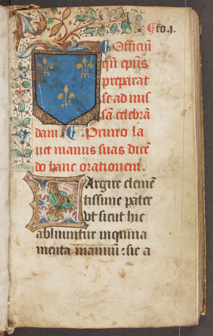 Incipit page to the Pontifical with the royal arms of France.