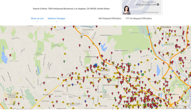 Mapped locations of sexual offenders around Hollywood Boulevard, Los Angeles. Shows around 450, noticably clustered.