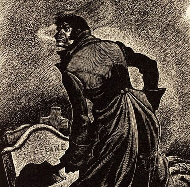 Fritz Eichenberg's depiction of Heathcliff in Wuthering Heights.