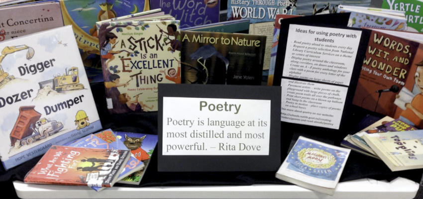 An engaging display of poetry books.