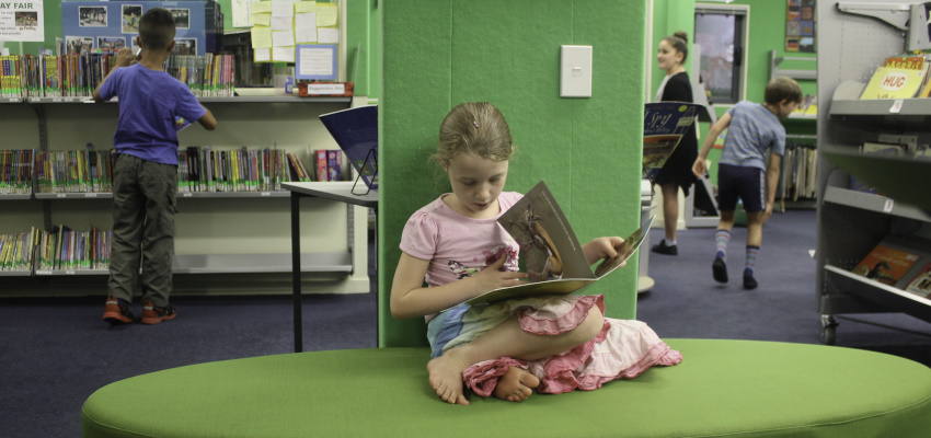 Young girl reading in her school library.