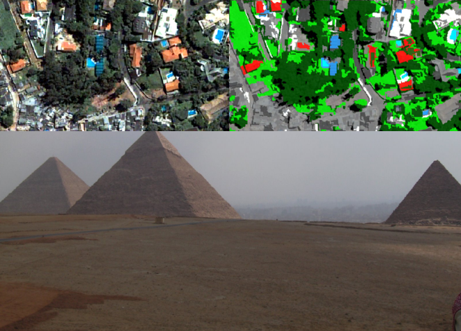 Image of several pyramids, along with comparative satellite photos showing areas blocked out in colour by computer analysis.