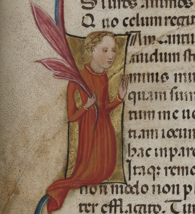 Historiated initial featuring a personification of Philosophy.