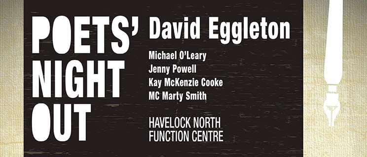 Poets night out David Eggleton, Michael O'Leary, Jenny Powell, Kay Mckenzie, Cooke, MC Marty Smith. Havelock North Function Centre.