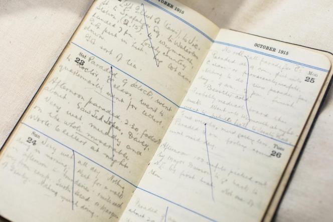 Cyril James Claridge's 1915 diary. Photo: Mark Beatty, Imaging Services, Alexander Turnbull Library