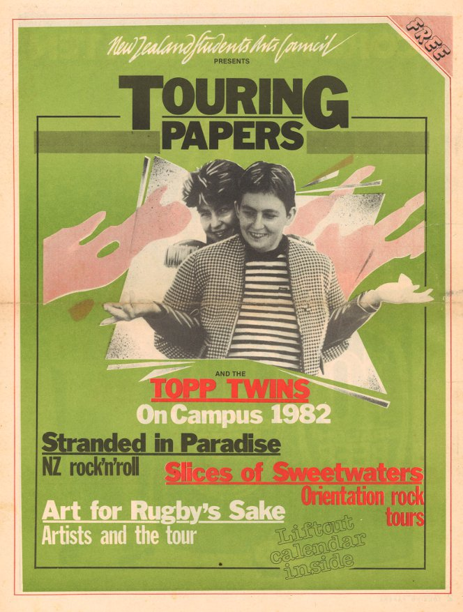 Newspaper ad for the Topp Twins On Campus series of shows, 1982.