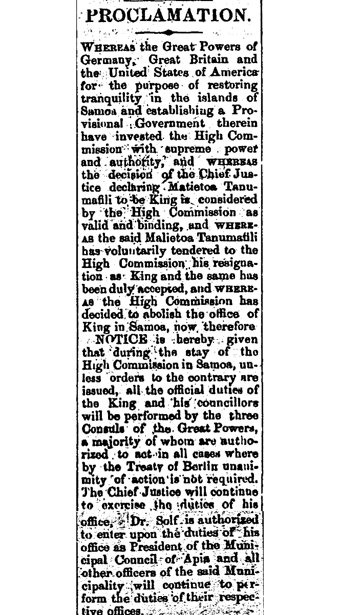 Newspaper article about Germany, Great Britain and the United States of America for the purpose of restoring tranquility in the islands of Samaoa.