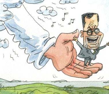 A cartoon of a small man standing on the palm of a hand.