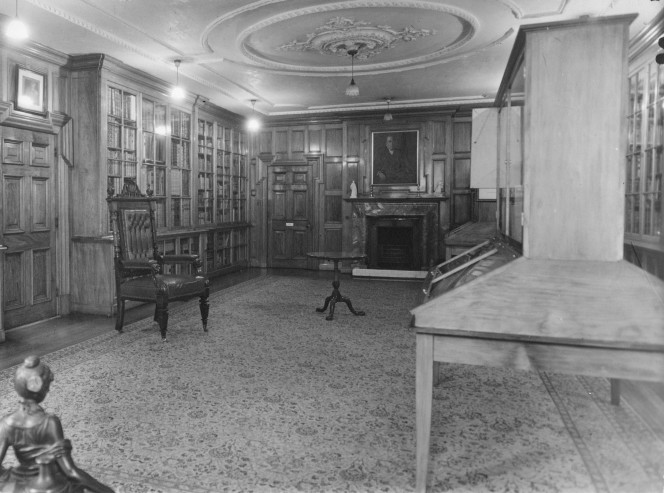 Exhibition room in the Alexander Turnbull Library.