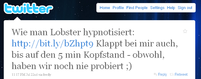 Tweet from a German-speaking user, pointing to the lobster article.