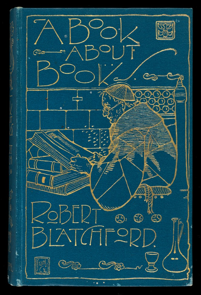 Cover of A Book About Books, by Robert Blatchford, showing an inlaid illustration of a monk at a stack of volumes.