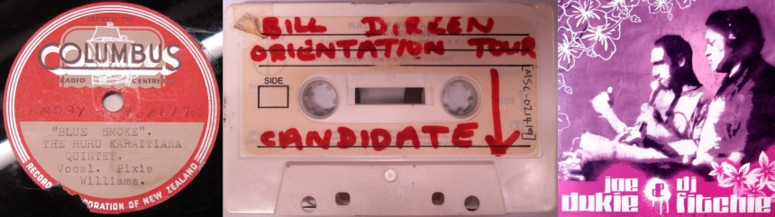 Three images: Label of Blue Smoke; Bill Direen cassette tape; Waveform of Joe Dukie and DJ Fitcher's Seconds