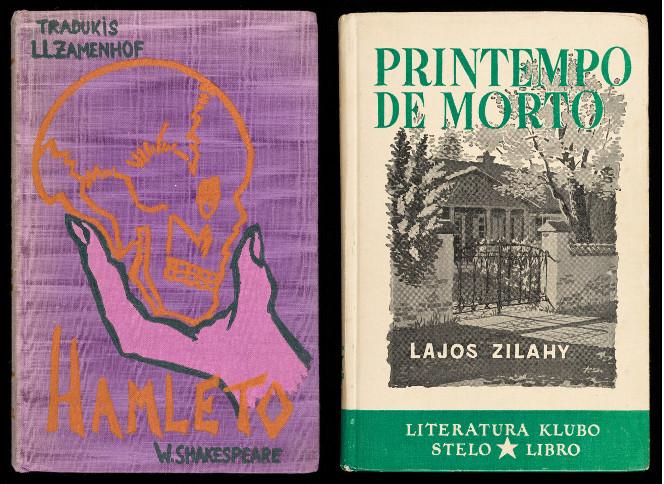 Covers of two Esperanto-language books, Hamleto and Printempo de Morto.