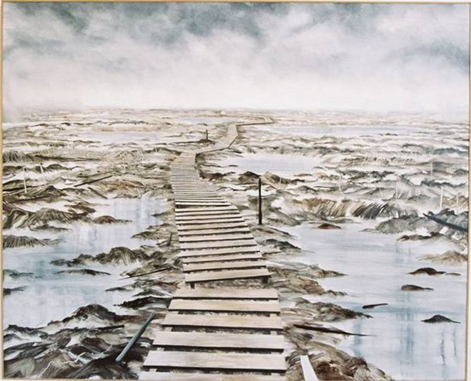 A painting by Bob Kerr, showing the duckwalk Mark Briggs was dragged down on the western front.