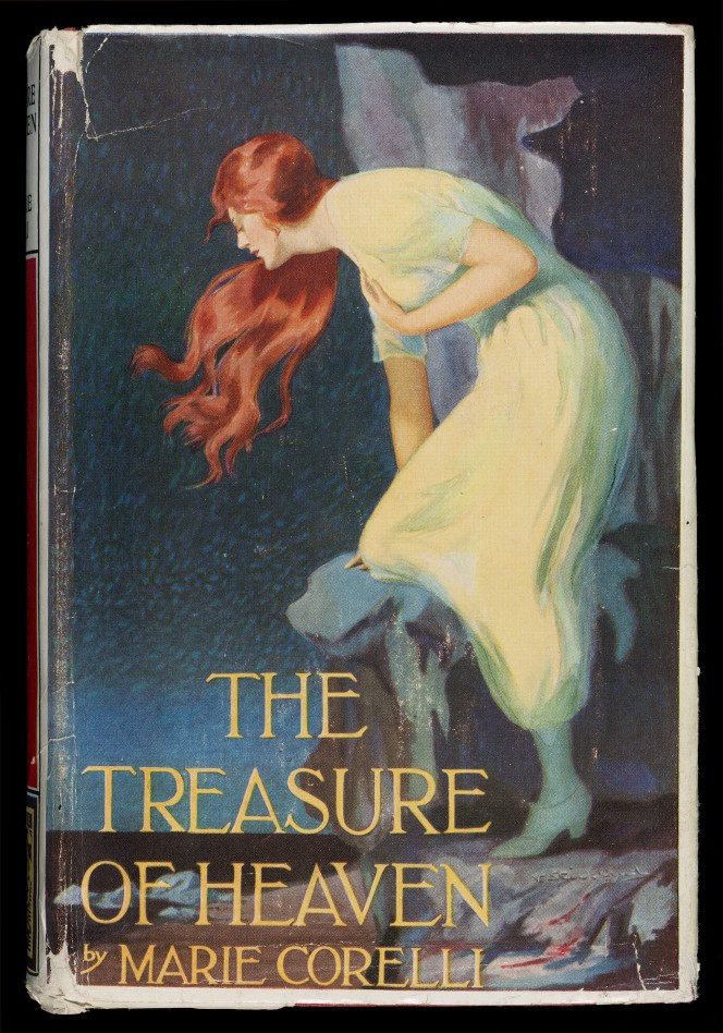 Cover of The Treasure of Heaven, showing a very romantic looking woman looking out over a coastline.