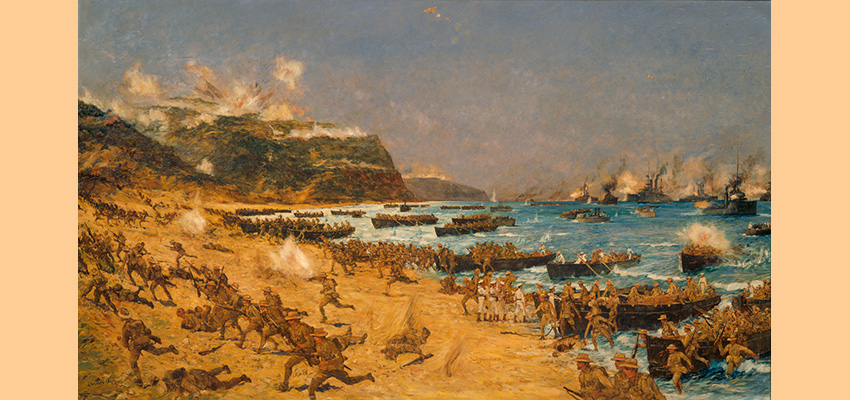 Painting of NZ troops landing at Anzac Cove from rowing boats and ships moored offshore amid artillery explosions