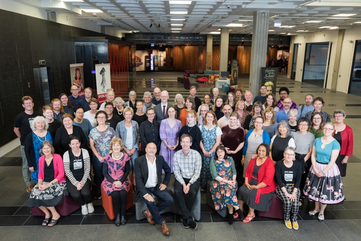 All of staff photo of the Alexander Turnbull Library.