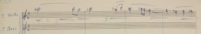 Opening bars of Douglas Lilburn's Overture: Aotearoa