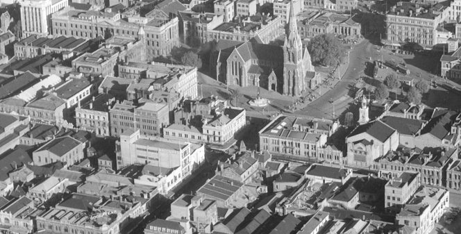 Christchurch City, Canterbury Region, including Cathedral Square, April 1947.
