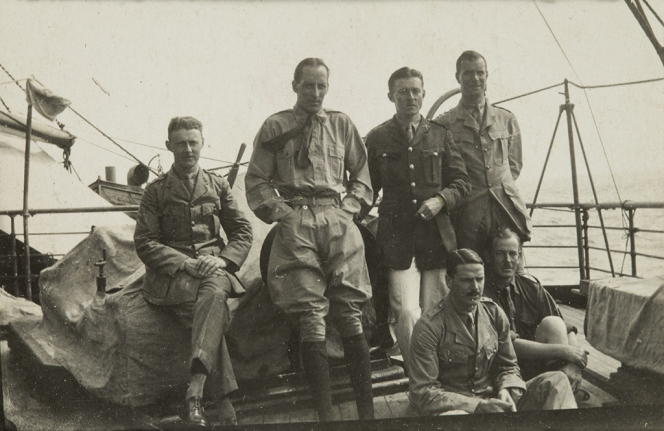 William Clachan, 2nd from left, with other officers, on board the Osterly, en route to Africa.
