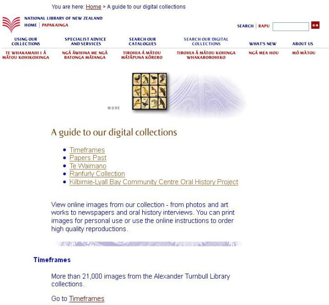 The National Library website in the early 2000s.