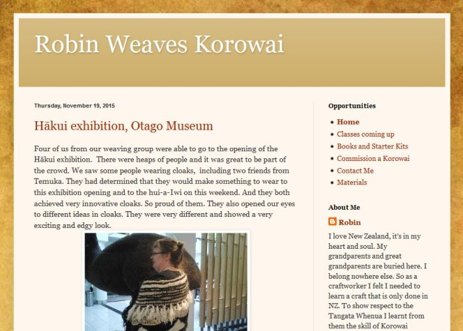 Screenshot of the Robin weaves korowai site, showing the start of a blog post and a photo of a woman in a traditional cloak at the Hākui exhibition.
