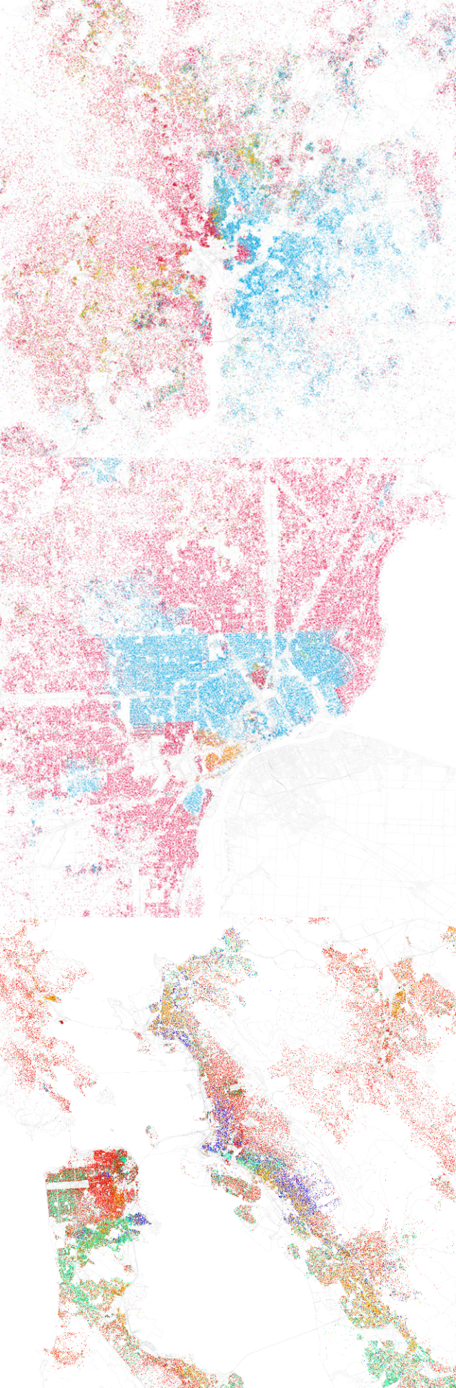 Maps showing the ethnic segregation of various cities at the 2000 census. Washington has a stark East/West divide; Detroit is even more strongly segregated.