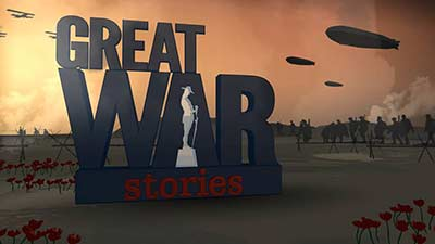 Great war stories wording with a soldier as the space of the capital letter A.