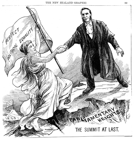 """Cartoon of a woman carrying a flag with words """"Perfect political equality"""" being given a hand by a man to reach the top of a summit named Parliamentary Heights."""