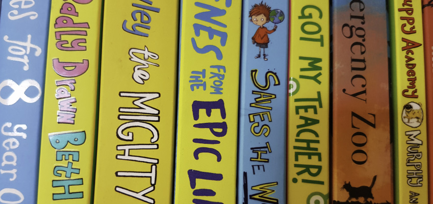Colourful spine labels on books.