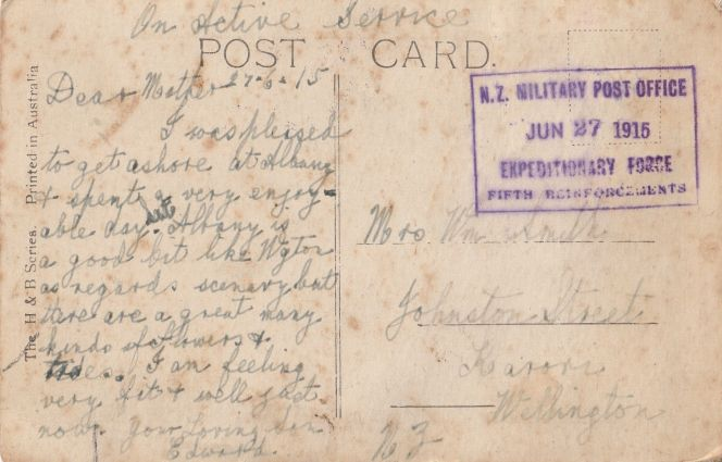 Postcard from Ted, sent from Albany, Australia, 27 June 1915.