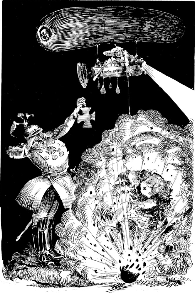 Newspaper cartoon showing a dirigible dropping a bomb on a small child. Kaiser Wilhelm is presenting the pilot with an Iron Cross.