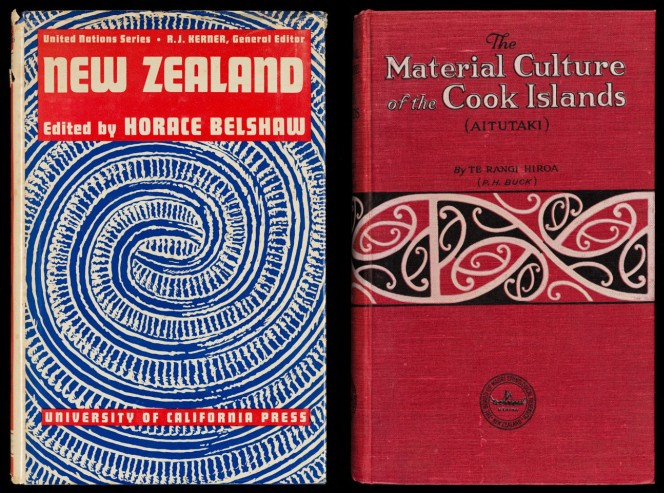 Covers of New Zealand by Horace Belshaw and The Material Culture of the Cook Islands by Te Rangi Hiroa.