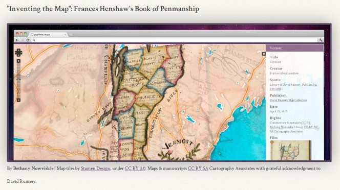 Preview of 'Inventing the map': Frances Henshaw's book of penmanship, showing a region-coded map of Vermont.