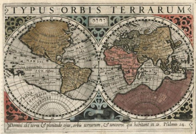 Map of the world from 1607, showing the Eastern and Western hemispheres. The South is largely taken up with 'Terra Australis Incognita'.