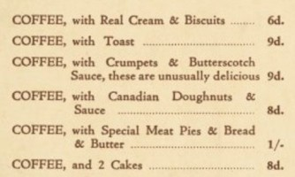 A list of menu items including COFFEE from French Maid Coffee House, 1941.