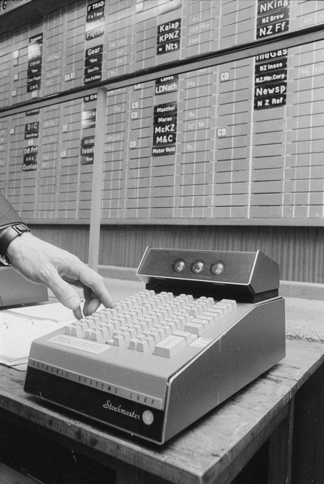 Wellington Stock Exchange 'Stockmaster' computer, 1970.