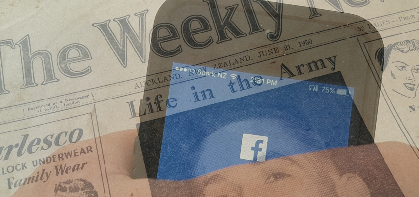 Old newspaper superimposed with silhouette of phone with Facebook icon showing
