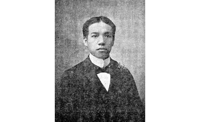 Newspaper portrait of Liang Qichao, dressed in a formal Western style, 1901.