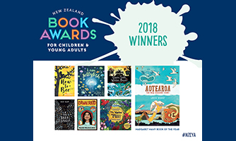 Graphic showing book covers of the 2018 winners of the NZ Book Awards for Children and Young Adults.