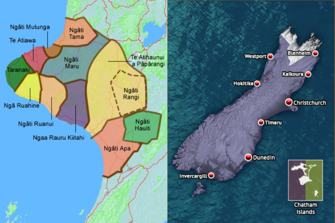 Shows two maps of various regions in the north and south islands.