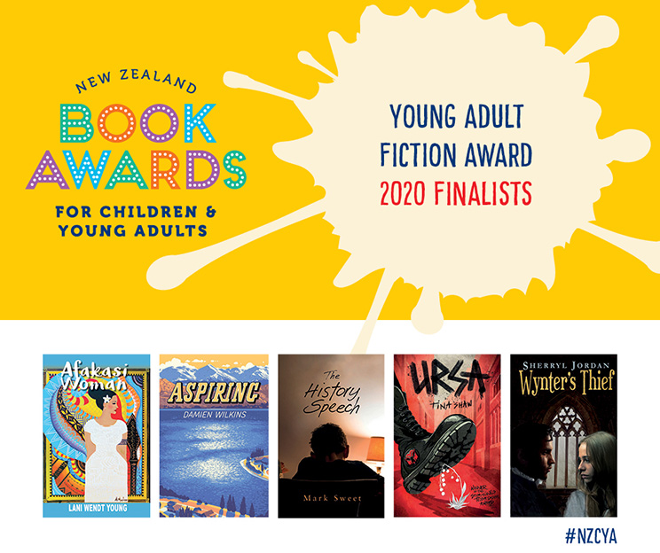 Poster: New Zealand Book Awards for Children & Young Adults — Young Adult Fiction Award 2020 Finalists