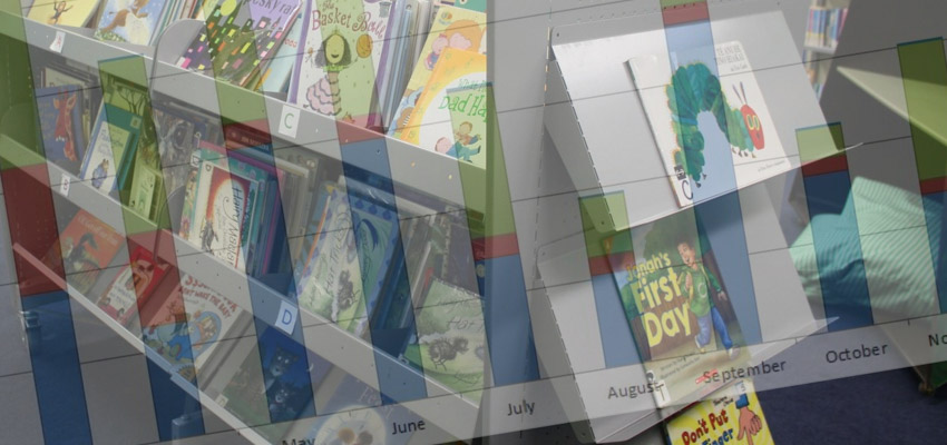 Calendar superimposed over photo of books on library shelves.