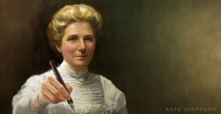Kate Sheppard, offering the pen she used to sign.
